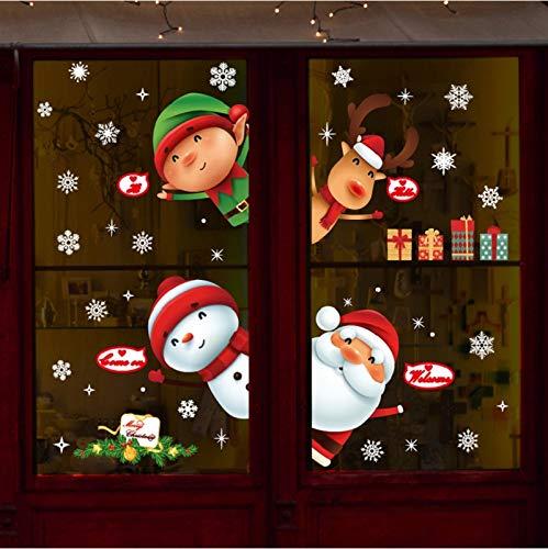 Yuson Girl Natale Vetrofanie Rimovibile Adesivi Murali Fai da te Finestra Decorazione Vetrina Wallpaper fiocco di neve