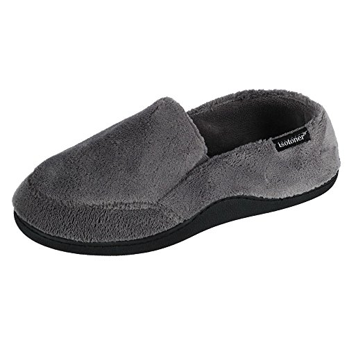 Isotoner Men's Microterry Slip On Slippers, Charcoal, Large / 9.5-10.5 D(M) US