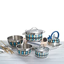 Veica Stainless-Steel Cookware Set Cooking-pot Salad-bowl Tea-pot with Patterm Design, Pack of 7,Green