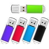 KEXIN 5 Pack 32GB USB 2.0 Bulk Flash Drives Thumb Drive Multiple Color USB Jump Drive Memory Stick Pen Drive 5 Pieces, Black/Blue/Green/Purple/Red (32GB)