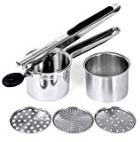 Rorence Stainless Steel Potato Ricer with 3 Interchangeable Discs & Inner Cup & Silicone Grip Handles - Black