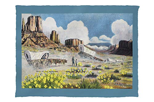 Western Scene - View of Pioneers with Covered Wagons Heading West 23964 (60x80 Poly Fleece Thick Plush Blanket)