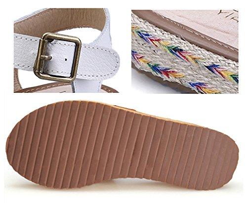 caoutchouc Gladiator micro W pour 3 femmes cuir Sandales corde Tongs 5CM paille en plates de semelle avec en en H wOdXS8qq