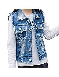 Strenme Jean Vest for Girls Denim Jean Vest Pearl Burr Childs Short Vest Jacket