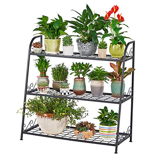 FaithLand 3-Tier Indoor/Outdoor Metal Plant Stand, Flower Pots Holder, Plant Display Rack, Stand Shelf, Shoe Organizer, Utility Storage Organizer Rack (Outdoor Stand Plant Metal)