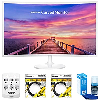 "Samsung CF391 Series 32"" LED Curved Monitor (LC32F391FWNXZA) with Xtreme 6 Outlet Wall Tap w/ 2 USB Ports, 2x Xtreme 6 ft HDMI Cable & Xtreme Universal Screen Cleaner for LED TVs Large Bottle"