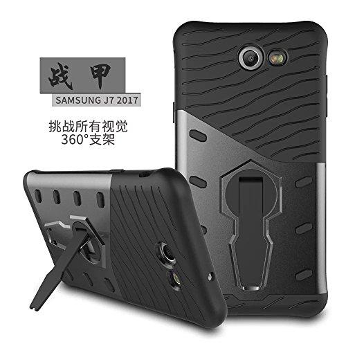 YHUISEN Híbrido resistente robusto de doble capa armadura de protección Shockproof con 360 grados de ajuste Kickstand cubierta de la caja para Samsung Galaxy J5 2017 J520 ( Color : Black ) Black