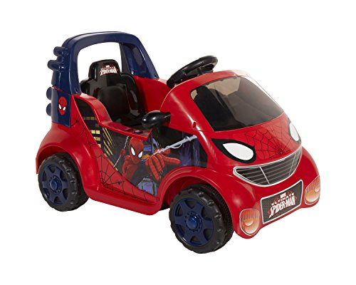 Dynacraft Spiderman 6V Car Ride-On, Small, Red/Blue/Black