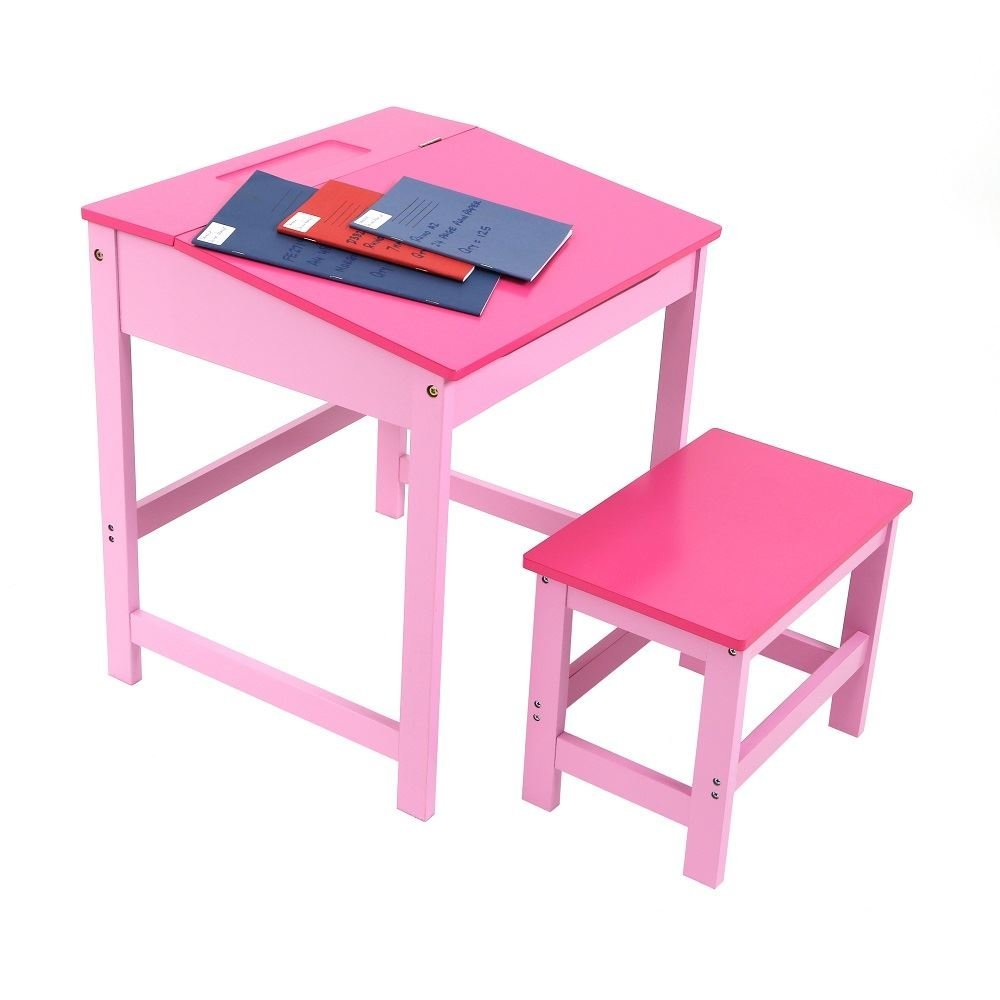 Superior Children Desk Part - 10: Childrens Kids Wooden Study Home Work Writing Reading Table Desk And Stool:  Amazon.co.uk: Kitchen U0026 Home