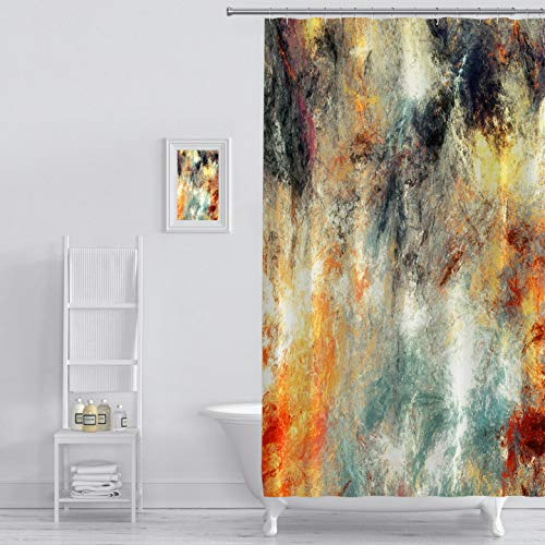 Shower Curtain bright artistic splashes abstract painting color texture modern futuristic pattern multicolor Art Print Polyester Fabric Bathroom Decor Sets with Hooks 72 x 72 Inches, Orange