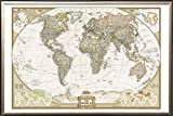 FRAMED National Geographic World Map Executive Style - with Push Pins - 24x36 in Real Wood Premium Gold Mist Detail Finish Crafted in USA