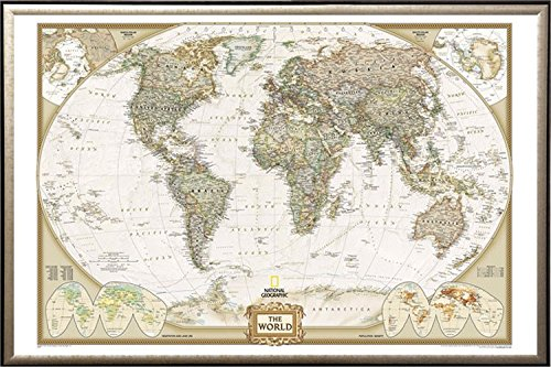 FRAMED National Geographic World Map Executive Style - with Push Pins - 24x36 in Real Wood Premium Gold Mist Detail Finish Crafted in USA by Poster Art House
