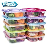 divided plastic container - Meal Prep Containers 3 Compartment Food Storage Reusable Plastic Bento Microwavable Lunch Boxes with Lids BPA-Free 10-Pack,Stackable Dishwasher & Freezer Safe,Portion Control,32oz