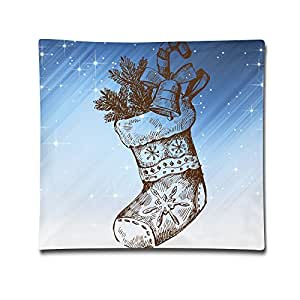 Art Christmas Stocking Comfortable Soft Pillow Bed Pillow Household Pillow Office Pillow Bolster 18*18 Inches