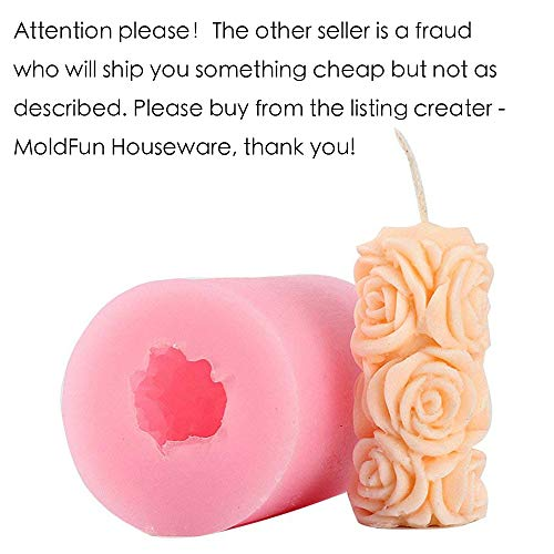 Making Candle Mold - Rose Candle Mold - MoldFun Cylinder Rose Flower Silicone Mold for Handmade Soap, Bath Bomb, Lotion bar, Crayon, Wax, Plaster of Paris, Polymer Clay