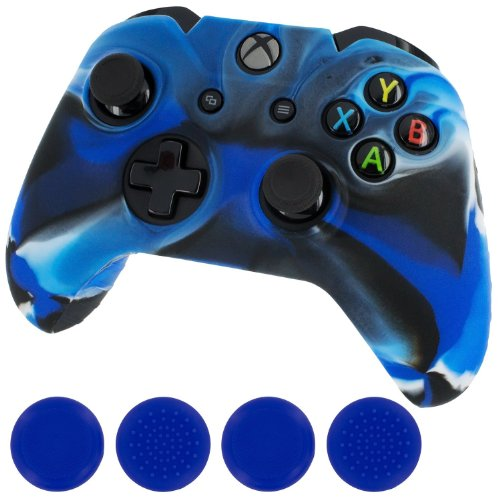 Leadingstar New Silicone Cover Case Skin Controller & grip stick caps for Xbox One(camo blue) (Blue Xbox Controller Stick Covers compare prices)
