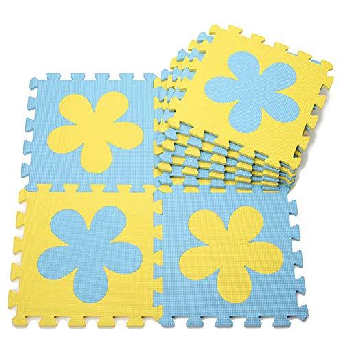 - 10PCS Simple Flower Puzzle Mat Children Crawling Mat Foam Mosaic Floor Mat (Blue and Yellow Flower)