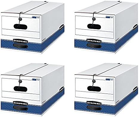 0070403 Bankers Box STOR//File Medium Duty Storage Boxes Letter 4 Pack String and Button FastFold