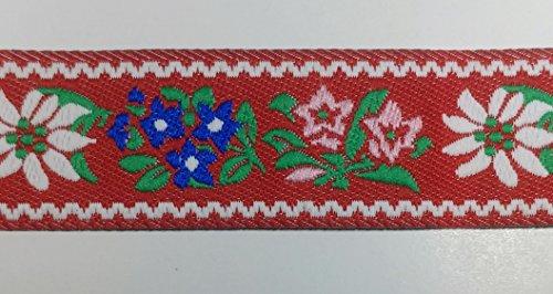 10 Continuous Yards - Jacquard Woven Floral Ribbon Trim - 1