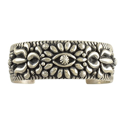 - Darryl Becenti Sterling Silver Repousse Stamped Cuff Bracelet Navajo Jewelry