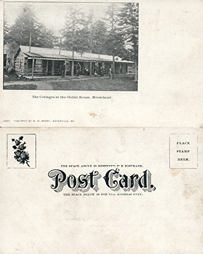 Lake Outlet (MOOSEHEAD LAKE OUTLET HOUSE COTTAGES ME UNDIVIDED ANTIQUE POSTCARD)