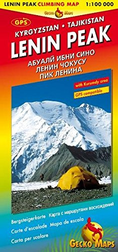 Lenin Peak Climbing Map, Kyrgyzstan - Tajikistan, 1:100,000...