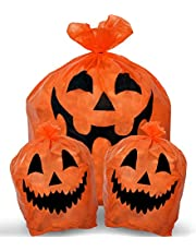 Skeleteen Pumpkin Leaf Bags Decorations - Jack O Lantern Outdoor Yard Fall Lawn and Leaves Pumpkins Decorating Bag with Ties - 3 Sizes