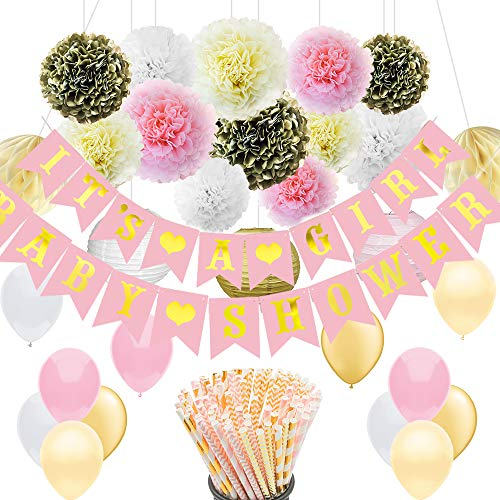 Baby Shower Decorations Set for Girl: Pink and Gold Paper Straws, Party Supplies, and Shower Game for $<!--$14.95-->