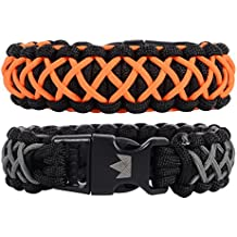 Paracord Survival Bracelets - Set of 2 - Easy To Open Clasp by The Friendly Swede
