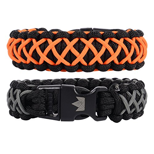 (The Friendly Swede Paracord Survival Bracelets - Set of 2 - Easy to Open Clasp (Orange Gun-Metal, for 6.49 inches / 16.5 cm Wrists))