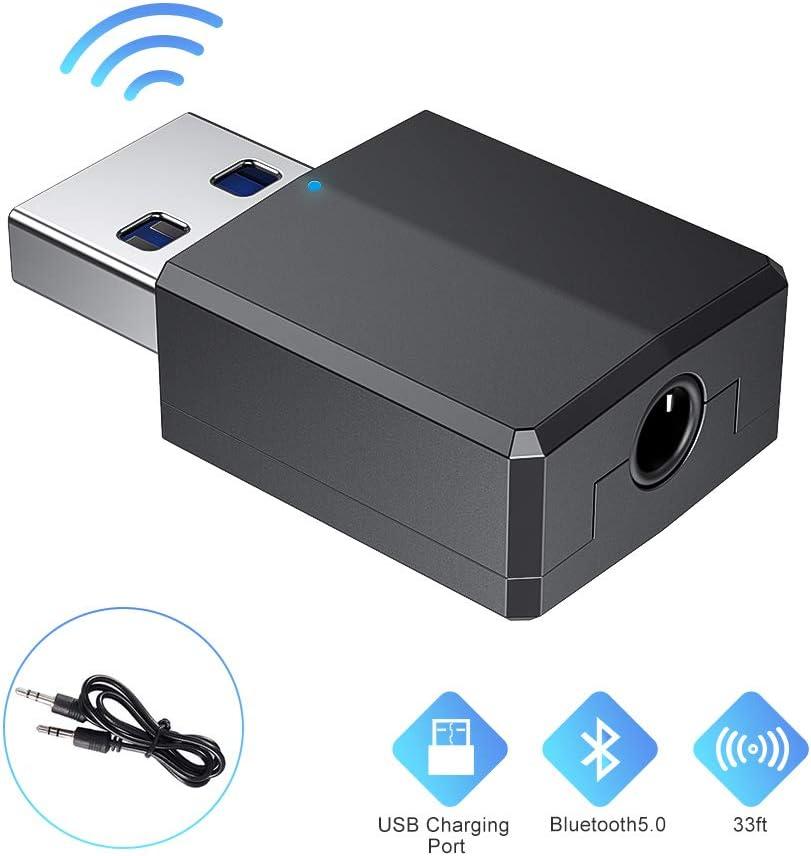 Comter Adaptador Bluetooth, Bluetooth USB,Adaptador Bluetooth 5.0 Dongle USB Hi-fi,Transmisor Bluetooth con Cable de Audio Digital de 3.5 mm para PC/Hogar/Auriculares/TV/Coche(USB Just For Power)