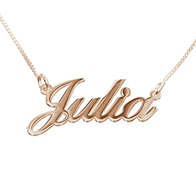 Amazon com: Personalized Small Name Necklace Rose Gold