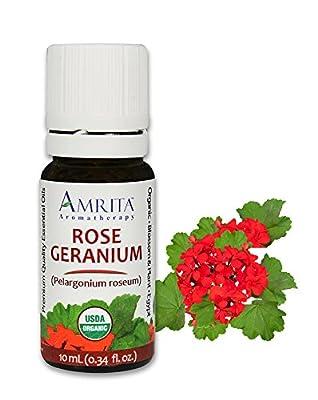 Organic Geranium, Rose Essential Oil - Pelargonium roseum - 100% Pure Undiluted & Therapeutic Grade, Premium Quality Aromatherapy oils, Tested & Verified: AMRITA Aromatherapy by Amrita Aromatherapy