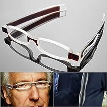 1 Pair Unisex Modern Design Light Weight Slim 360 Degree Folding Reading Glasses Eyewear Eyeglasses Portable Reader with Pocket Clip Design Pen Tube Case (+1.50)