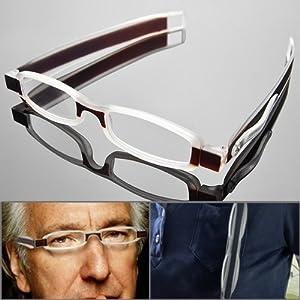 1 Pair Unisex Modern Design Light Weight Slim 360 Degree Folding Reading Glasses Eyewear Eyeglasses Portable Reader with Pocket Clip Design Pen Tube Case (+2.50)