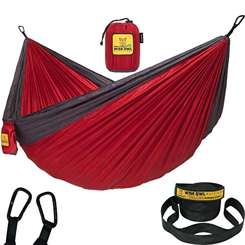 Wise Owl Outfitters Hammock Camping Double & Single with Tree Straps - USA Based Hammocks Brand Gear, Indoor Outdoor Backpacking Survival & Travel, Portable from Wise Owl Outfitters