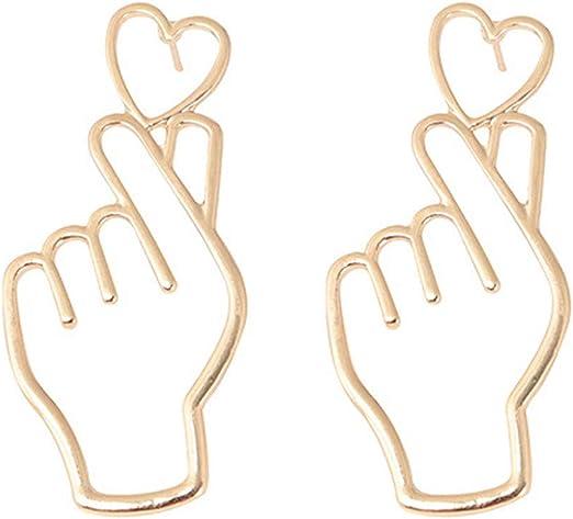 Fashion Simple Large Star Heart Shaped Hoop Earrings Jewelry for Women Girl Beam