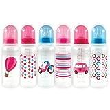 Nurtria Regular Neck Bottles with Organizer, Pink, 6-Count, Baby & Kids Zone