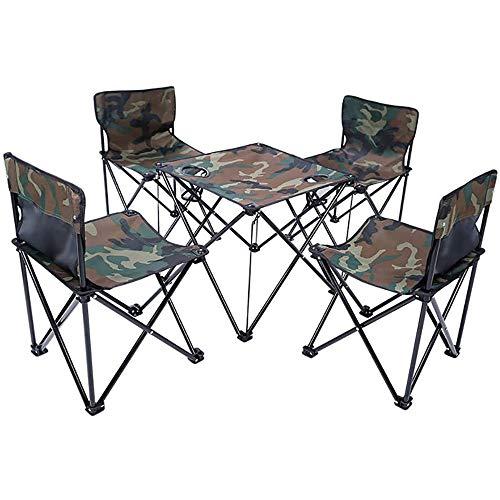 Beirich 5 Piezas de Mesa y sillas de Camping Set con Bolsa de Transporte Plegable portatil Compacto y Ligero de Aluminio Enrollable Top,Camuflaje