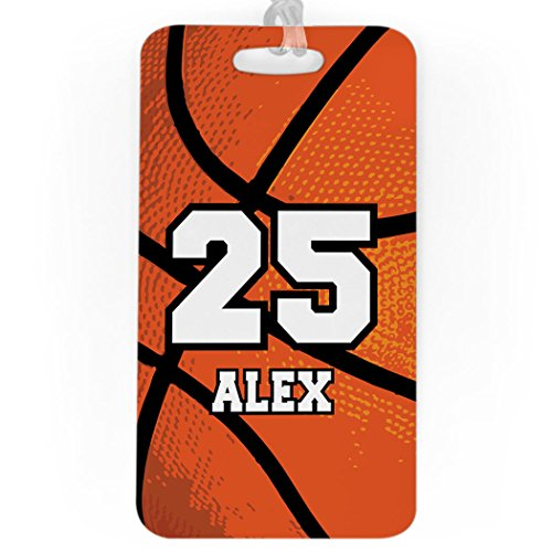 Basketball Tag Luggage - Basketball Luggage & Bag Tag | Personalized Name & Number | Standard Lines on Back | LARGE