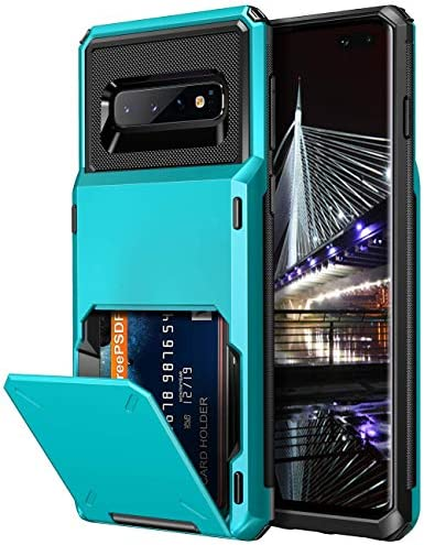 Defender Wallet Card Holder Cover With Hidden Mirror Three Layer Shockproof Heavy Duty Protection All-Round Armor Protective Case For Samsung Galaxy S10 WeLoveCase S10 Plus Wallet Case Plus Black