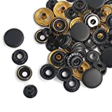 Pack of 15 Completed Sets Black Matte Snap Fasteners Press Studs Sewing Leather Buttons Poppers For Leather Craft , Clothing , Jacket (15mm (201 Long Post))
