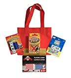 Family Game Night Party Games 5 Piece Travel Set Includes Family Feud Strikeout Card Game Left Center Right Dice Game 2 Decks of Playing Cards The Original Pocket Farkel Dice Game & Red Mini Tote Bag