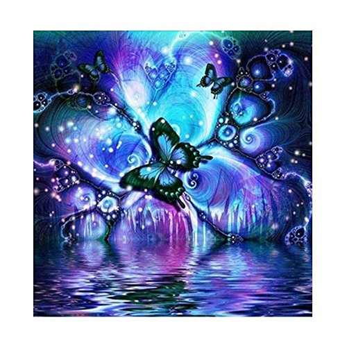 DIY 5D Diamond Painting Kits Full Drill, Astory Rhinestone Crystal Embroidery Pictures Cross Stitch for Home Room Decoration Butterfly 3030 cm (11.811.8inch)