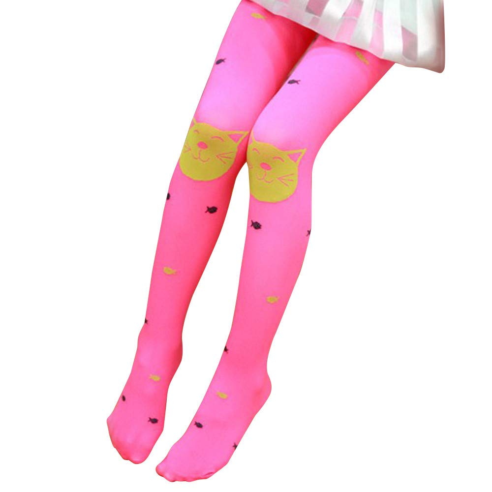❤️ Mealeaf ❤️ Autumn Girls Tights Bearded Girl Fashion Knitted Stocking Baby Pantyhose (Hot Pink,)