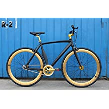 Caraci CBR2AL48BG Aluminum Frame Fixed Gear Bike, Black/Gold, 48cm