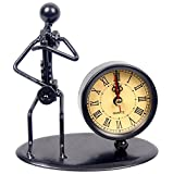 Classic Vintage Old Fashion Iron Art Musician Clock Figure Ornament For Home Office Desk Decoration Gift (C69 Saxophone)