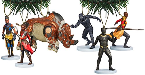 Marvel Studios Black Panther Holiday Ornament Set of 6 Black Christmas Holiday Ornaments