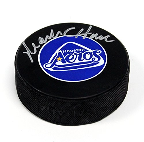 Mark Howe Houston Aeros Signed Autograph Model WHA Hockey Puck