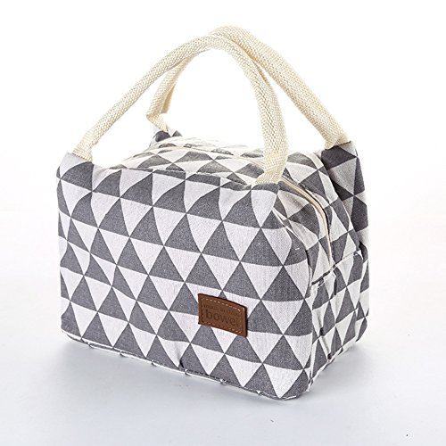 Zehui Lunch Bag Cotton Flax Lunch Bag Waterproof Heat Preservation Striped Ice Package Hand Bag Outdoor Gray Triangle